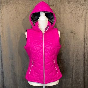 Pretty Pink Puffy Vest with removable hood!